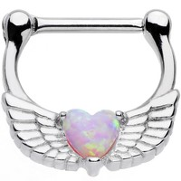 16 Gauge Steel Pinkish Synthetic Opal Heart Angel Wing Septum Clicker