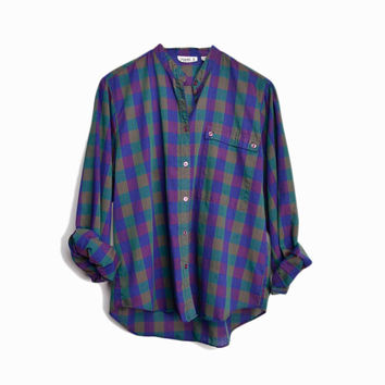 Vintage 80s Check Plaid Blouse in Blue, Purple & Green  - women's large