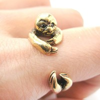 Realistic Sloth Shaped Animal Wrap Around Hug Ring in Shiny Gold | US Size 4 to 9