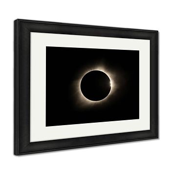 Framed Print, Total Solar Eclipse With Bailey Beads And Prominence