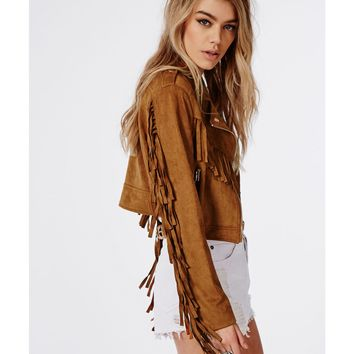 Missguided - Fringed Faux Suede Biker Jacket Tan