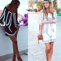 Floral Printed Loose Off Shoulder Quarter Sleeve Boat Neckline Casual Party Playsuit Clubwear Bodycon Boho Dress _ 8847
