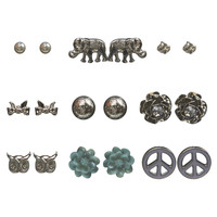Animal Mix Button Earring 9-Pack | Wet Seal
