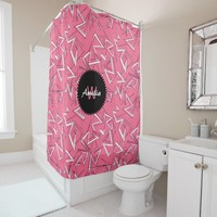 White and Black Zigzags on Pink Shower Curtain