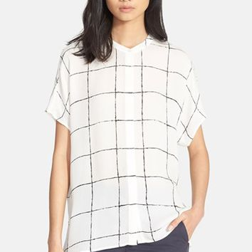 Women's Vince Windowpane Silk Blouse