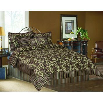 Tache 6 Piece Luxurious Royal Exotic Blooms Floral Chenille Comforter Bedding Set (BM14224)