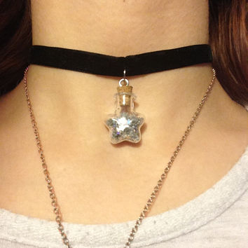 Star dust jar choker