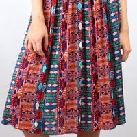 Spring Daze Boho Print Midi Skirt - Red/Multi