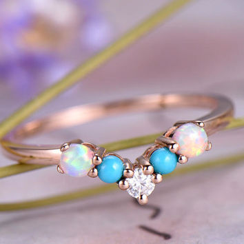 Turquoise Wedding band,14k Rose Gold,Round Cut turquoise,Anniversary ring,Promise ring,Curved Shape,Art deco,Moissanite,Prong,Gift for her