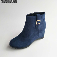 YOUGOLUN Women Autumn Ankle Boots Fashion Ladies Height Increasing Boots Woman Wedge Heels Boot Elegant Women Black Blue Shoes