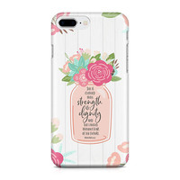 Proverbs 31:25 Mom Phone Case, Mother's Day Phone Case, Floral Mason Jar Phone Case, iPhone 8, Samsung Galaxy S9