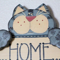 Cat Handpainted Wood Sign Grey Tabby Home Is Where the Cat Is
