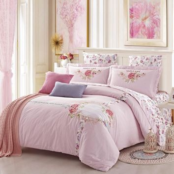 Luxury embroidery stripes wedding flowers 4PCS bedding set 100% Cotton/duvet cover flat sheet pillowcase king queen high quality