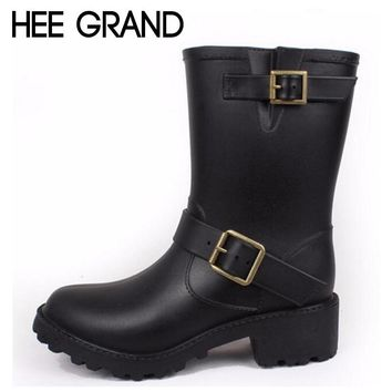 HEE GRAND 2018 Women Rain Boots Western Boots Women Ankle Boots with Buckle High Water Shoes XWX6737