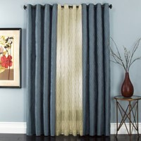Sloane Embroidered Lined Grommet Window Curtain Panels