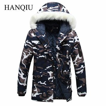 2017 New Brand Made of Goose Feather Winter Jacket Men Camouflage Thick Jacket Men's Parka Coat Male Fur Collar Hooded Parkas
