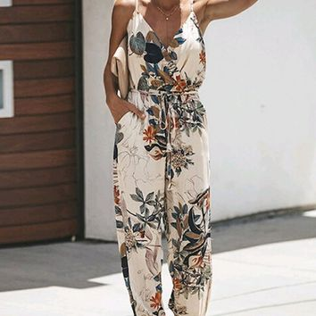 Beverly Hills Floral Pattern Sleeveless Spaghetti Strap Cross Wrap V Neck Side Slit Loose Jumpsuit - 2 Colors Available