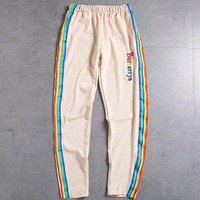 Burberry Fashion Women Rainbow Stripe Letter Embroidery Sport Stretch Pants Trousers Sweatpants I-CY-MN