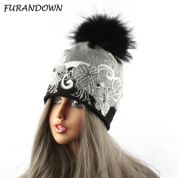 Mink Raccoon Fur Pompom Ball Beanie Hats Women Russian Fur Cap Knit Crochet Flower Hat With Diamond