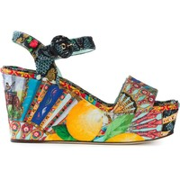 Dolce & Gabbana Printed Brocade Wedge Sandals - Mantovani - Farfetch.com