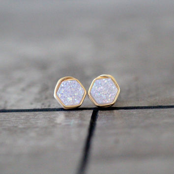Hexagon Druzy Studs - Cottontail