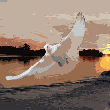 Dove In Sunset Acrylic Popart Painting (Preview - On The Wall) free shipping