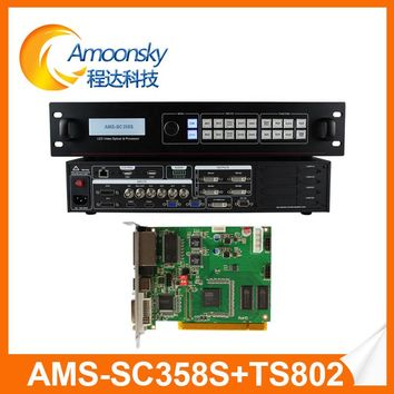 AMS-SC358S led video wall splicer 4k resolution seamless switcher hdmi video processor with 1 pc ts802d sending card