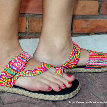 Womens Sandal In Ethnic Hmong Rainbow Embroidery Flat  Toe Wrap Style Vegan