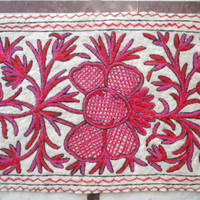 Pink Rug Hand embroidered/2x3 feet/Custom made/carpet/door mat/floor covering/wall hanging/runner/tapestry