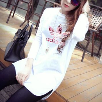"""""""Adidas"""" Women Casual Simple Pink Letter Print Long Sleeve T-shirt Irregular Middle Long Section Bottoming Tops"""