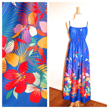 70s Floral Maxi Blue Empire Waist Long Hawaii Tropical Flower Print Dress by Sears size Small Medium