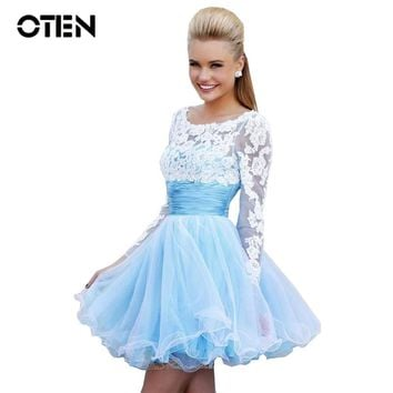 OTEN Mini party dress women See Through White Lace Patchwork Long sleeve Sexy Backless A Line Graduation short blue dresses