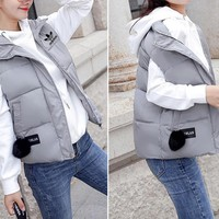 """""""Adidas"""" Women Fashion Solid Color Sleeveless Cotton-padded Clothes Vest Jacket Coat"""