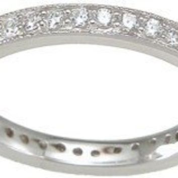 Amazon.com: Sterling Silver Stackable Wedding Band Eternity Anniversary Ring (Sizes 5-10 Available): LaRaso & Co: Jewelry