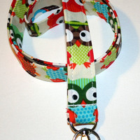 Fabric Lanyard / ID Holder with lobster claw clasp Owl Natural