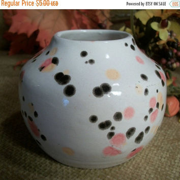 Ceramic Pottery Vase Ivory with Colorful Orange and Black Dots Hand Crafted Reed Pot Artisan Fall Home Decor