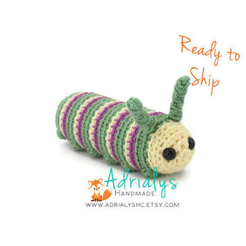 Crochet Caterpillar- Stuffed Caterpillar- Caterpillar Plush- Insect Toys- Handmade Caterpillar- Crochet Toy- Ready to Ship