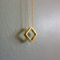 gold square charm necklace-gold square necklace-simple gold necklace-geometric necklace-diamond shape charm necklace