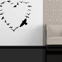 Birds flock in a heart formation wall decal, home decor, wall sticker, decal, wall graphic, vinyl decal, vinyl graphic decal, wall art