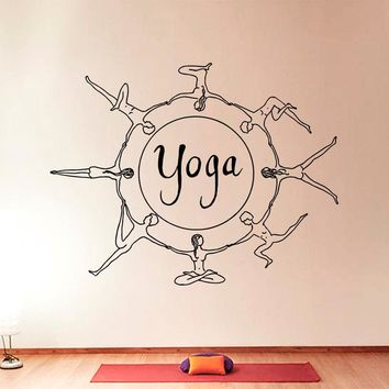 Yoga Art Designed Wall Sticker  Special Unique Decorative Vinyl Wall Decals Mural Circle Pattern