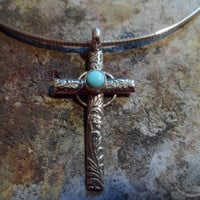 Authentic Navajo,Native American,Southwestern,old western vintage style sterling silver sleeping beauty turquoise crucifix cross pendant.