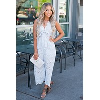 Baby It's Warm Outside Cropped Jumpsuit (Light Blue)