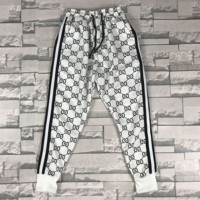 GUCCI New fashion more letter print stripe couple loose leisure pants trousers White