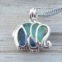 Mixed Sea Glass Elephant Locket Necklace Kelly Green And Cobalt Blue Combo