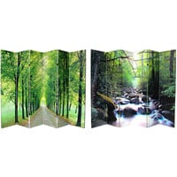 Oriental Furniture CAN-PATH-6P Six Ft. Tall Double Sided Path of Life Canvas Room Divider Six Panel, Width - 96 Inches
