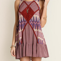 Umgee:  Burgundy Lace Detail Dress