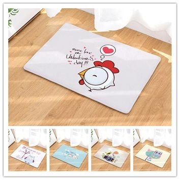 Autumn Fall welcome door mat doormat 40x60 50x80cm Cartoon Cute Birds  Entrance Door Light Thin Flannel Cute Cartoon Cozy Carpets Home Decor Kitchen Mats AT_76_7