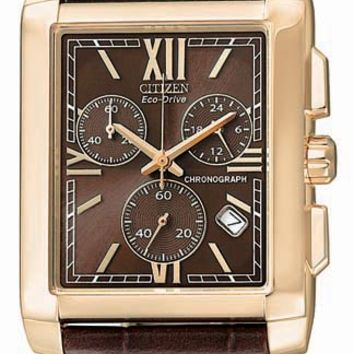Citizen AT0563-01X Men's Eco Drive Brown Leather Strap Watch