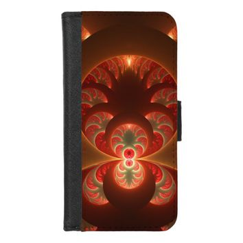 Luminous abstract modern orange red Fractal iPhone 8/7 Wallet Case