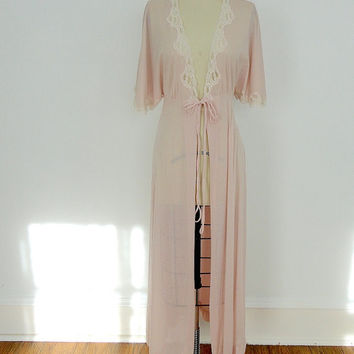 Vintage Robe  / Blush Pink - Taupe Lace / Lily of France / Wedding Lingerie / 1980s / Size Medium M